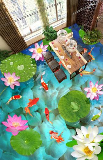 3D Goldfish Lotus Pond 8 Floor WallPaper Murals Wall Print Decal AJ WALLPAPER US