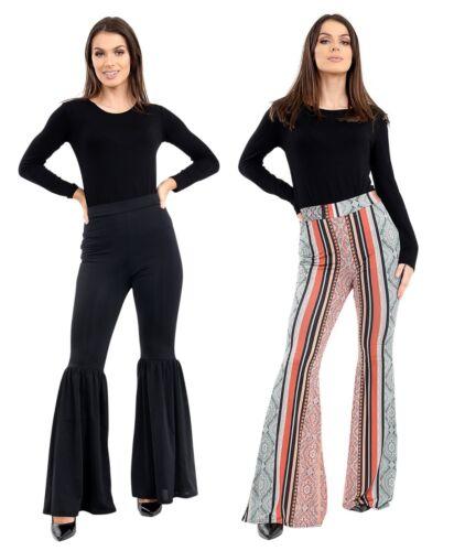 Womens Black Wide Leg Bell Bottom Flared Trouser Ladies  High Waist Pants