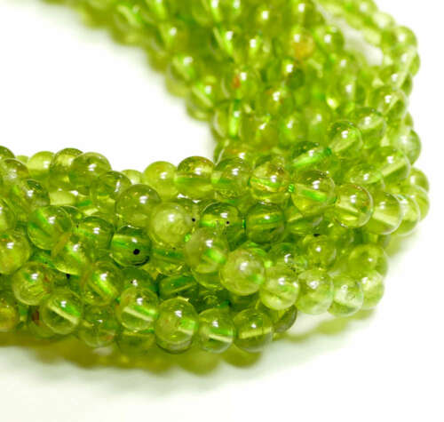 Peridot vert-transparent 4-6 mm 1 Brin #4257 Bacatus Gemmes