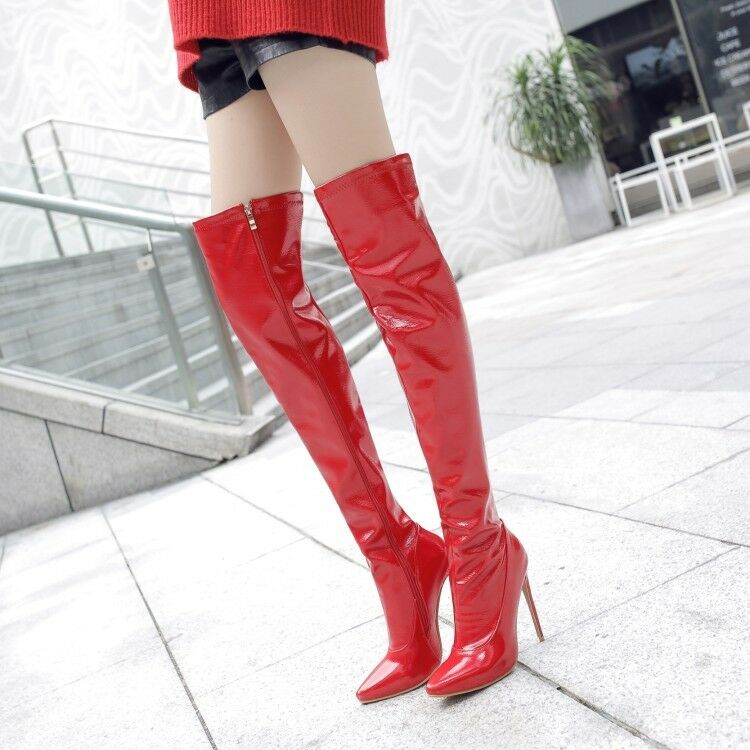 Sexy Ladies Stiletto Motorcycle Riding Over Knee High Boots Patent Leather shoes