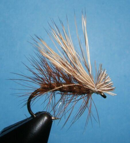 -12 dry flies 12 Elk Hair Caddis; TAN; # 10