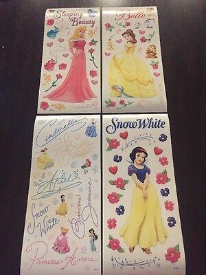 4 Disney Princess Scrapbook Sticker Sheet 12x5 Autograph Belle Snow White Aurora
