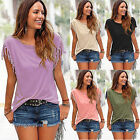 Plus Size Women Tassel Short Sleeve Loose T-Shirt Summer Casual Tops Blouse 6-14