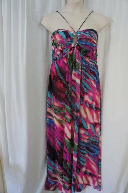 Betsy & Adam Dress Sz 10 Multi Farbe Sleeveless Beaded Cocktail Evening Gown