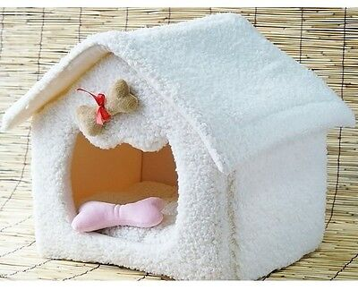 New Warm Christmas Snow Pet Dog Cat Soft House Bed Cat Fade House Tent White