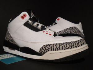 c95374f598ed NIKE AIR JORDAN III 3 RETRO WHITE BLACK CEMENT GREY INFRARED 23 ...