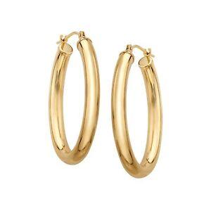 Eternity Gold Oval Tube Hoop Earrings in 14K Gold