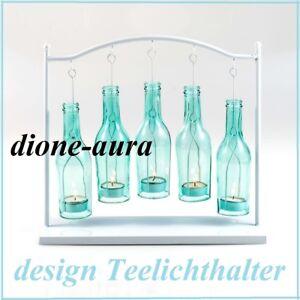 Design-Teelichthalter-mit-fuenf-Flaschen-Gestell-aus-Metall-in-Weiss-Neu-amp-OVP