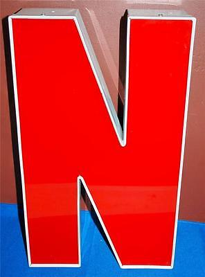 RED WHITE INDOOR OUTDOOR LARGE ACRYLIC ADVERTISING SIGN LETTER N