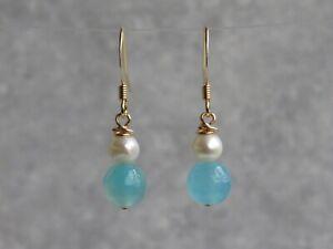 Gold Plated Blue Agate Semi Precious Stone Dangle / Drop Earrings       (mz11)