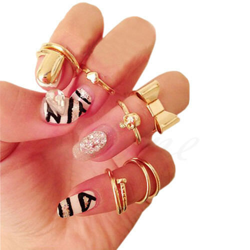 7PCS/Set Stylish Gold Skull Stack Plain Cute Above Knuckle Ring Band Midi Rings