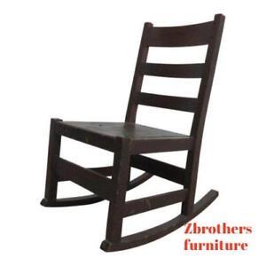 Super Details About Antique Stickley Ladder Back Tiger Oak Rocker Rocking Chair Carpet Cutter Machost Co Dining Chair Design Ideas Machostcouk