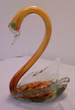 """Murano? Glass Swan, End Of Day Glass, Orange Mixed 7.75"""" Tall 5.25"""" Long Vintage"""