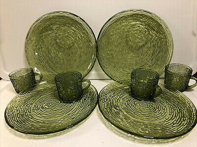 3015 Soreno Avocado Green SNACK SET Anchor Hocking footed cup plate luncheon snack tray midcentury Made in USA pressed glass free shipping