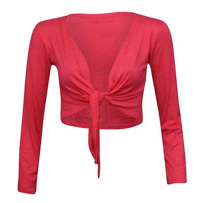 Women's Long Sleeve Tie up PRINTED Ladies Bolero Shrug Cardigan Top Size 8-22