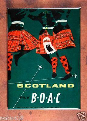 "Vintage Airline Travel Poster  Fridge Magnet 2 1/2"" x 3 1/2"" BOAC Scotland Kilt"