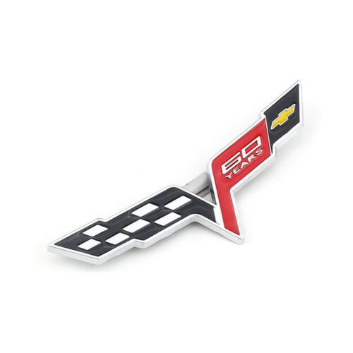 Silver 60 Years 60th Anniversary Flags Rear Emblem Sticker for Corvette C6