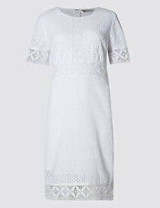 b5dfc932168 New M&S Collection White Pure Cotton Broderie Panelled Shift Dress ...