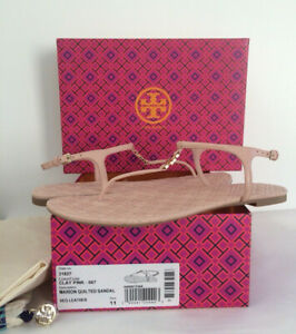 62fde28b09293 NIB TORY BURCH 11M Marion Quilted T strap Sandal Leather Flat Pink ...