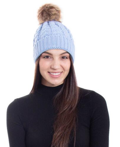 Winter Warm Women Faux Fur Pom Cuff Beanie Hat Soft Cable Knit Winter Skull Cap