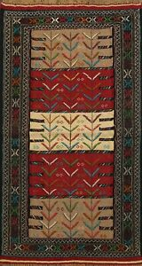 Flat-weave-Geometric-Sumak-Kilim-Area-Rug-Tribal-Wool-Oriental-Carpet-4x6-ft-New