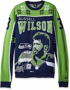 9f6488f4a08 KLEW NFL Seattle Seahawks Wilson R  3 2015 Player Ugly Sweater ...