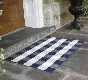 NANTA-Navy-Blue-and-White-Buffalo-Plaid-Rug-Cotton-Washable-Indoor-Outdoor-Woven