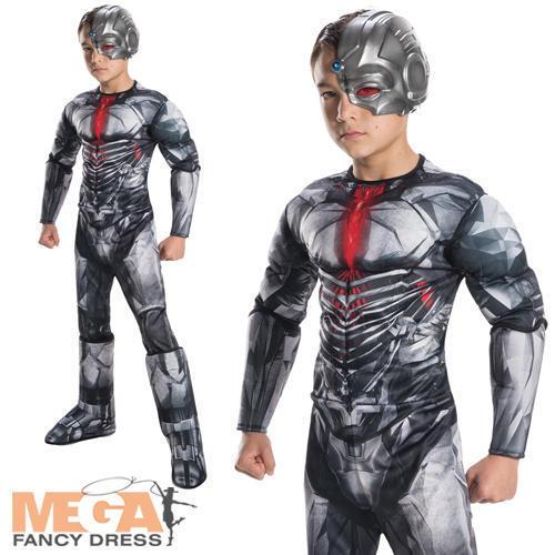 Deluxe Cyborg Boys Fancy Dress Justice League DC Comic Superhero Kids Costume