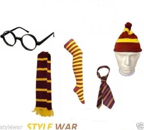 Kids violet jaune à rayures HP livre scolaire robe fantaisie foulard cravate Chaussettes Chapeau Lunettes
