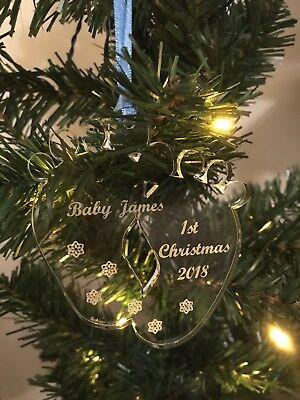 Personnalisé Bébés 1st Arbre de Noël Coeur Décoration Cadeau