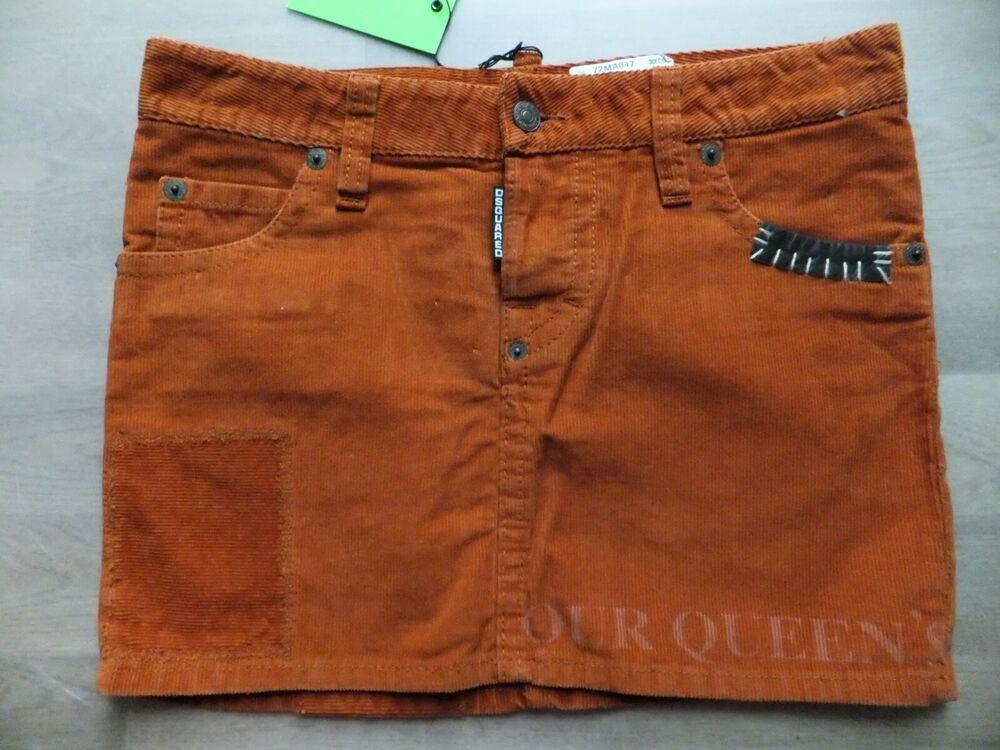 100% Original Dsquared D² Femmes Minijupe Jupe Kord Taille It42/d 36 Italy Nouveau