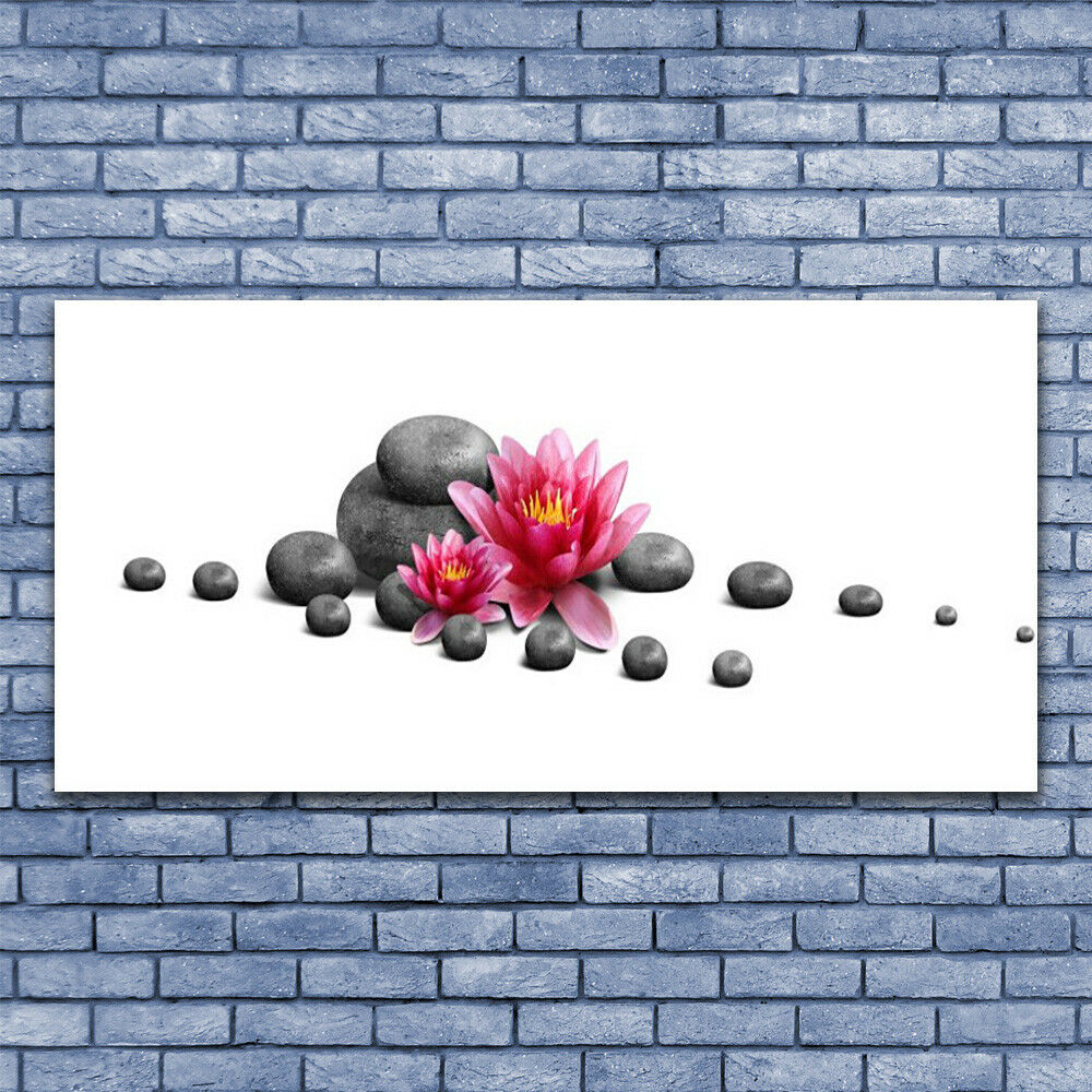Glass print Wall art 140x70 Image Picture Flower Stones Art Art Art af42c1