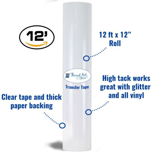 """12/"""" X 12/' ft Roll High Tack Transfer Paper for Self Adhesive Vinyl Cameo Cricut"""