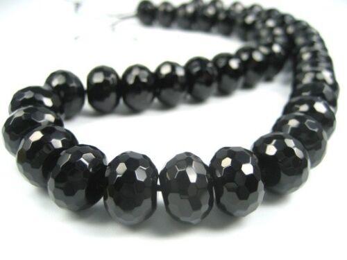 Nuevo Black Onyx cadena Strang 14x10mm rondell negro con facetas s80