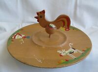 Vintage Wooden Farm Tray Serving Platter Barn Silo Amish Girl Cow Rooster Wood