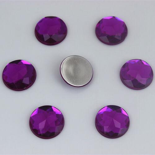 50PCS 14mm Round Acrylic Flat Back Crystal Beads Rhinestones Diy crafts ZZ92