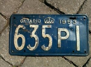 Vintage 1953 Ontario ON Canada Vehicle License Plate Blue White  ~ POOR 635p1