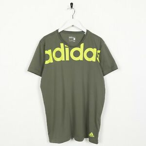 Vintage-ADIDAS-Big-Spell-Out-T-Shirt-Tee-Green-Large-L