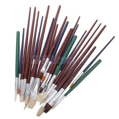 25 pcs FINE ART PAINT BRUSHES FOR ACRYLIC OIL painting WATERCOLORS ARTISTS craft