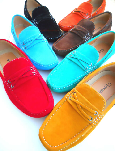 Mens Casual Shoes Driving Mocs Loafers Suede Pu New Slip On Yellow Orange Blue