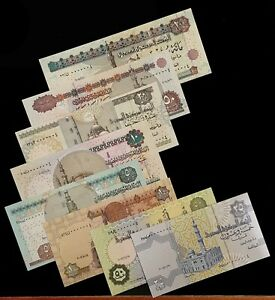 EGYPT-ROYAL-NUMBER-LOW-SERIAL-0000004-FULL-SET-EXCEPT-200-POUNDS-UNC