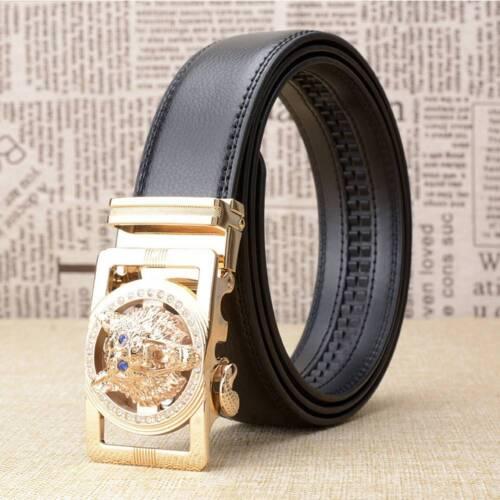 Men/'s Belts Gold//Silver  Wolves Head Automatic Buckle Flux Leather Strap Belts