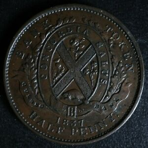 LC-8B1-Halfpenny-token-Un-sou-1837-Lower-Bas-Canada-Quebec-Bank-Breton-522