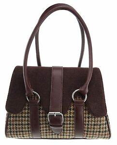 Tweed marron Chien Dent De Femmes Contraste Harris Col Sac Brun Feston Lb1018 fKSqqw5Hp