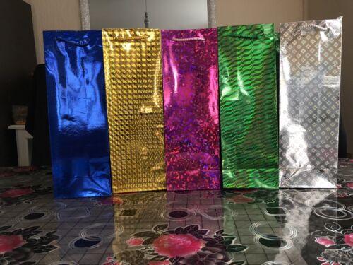 60 bouteille de vin Sacs cadeau holographique Shine Papier Couleur Fête Cadeau Toute Occasion