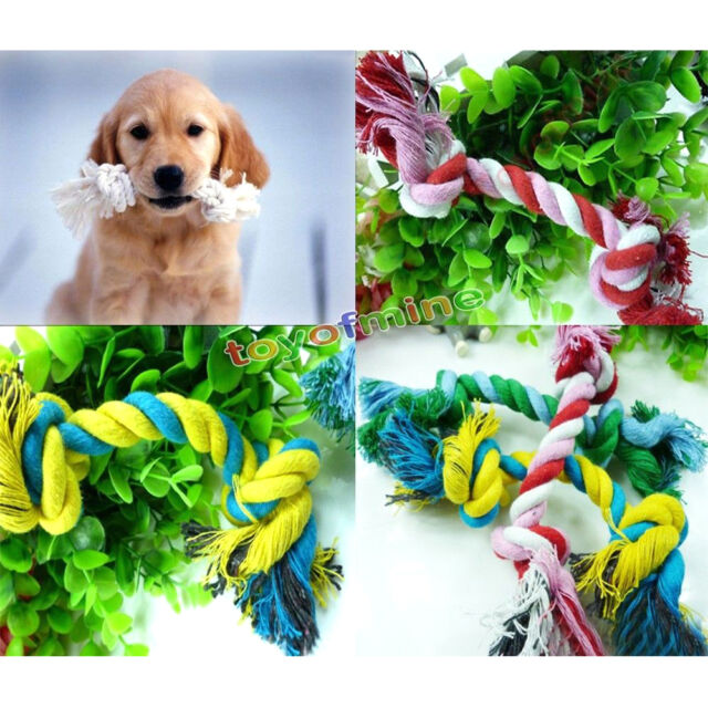 Dog Puppy Pet Cotton Braided Bone Rope Chew Knot Toy