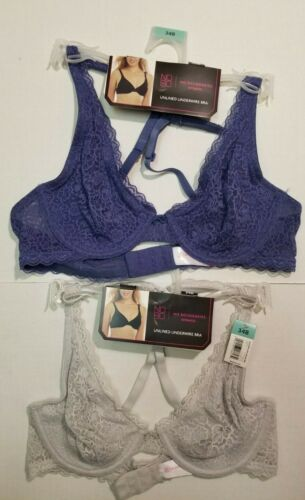 NoBo No Boundaries Unlined Underwire Bra *2 PACK* SILVER /& BLUE 34B 34D 36B NWT