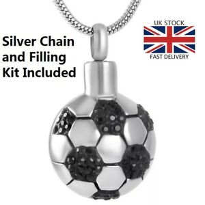 Football-Keepsake-Cremation-Urn-Pendant-Ashes-Silver-Necklace-Funeral-Memorial