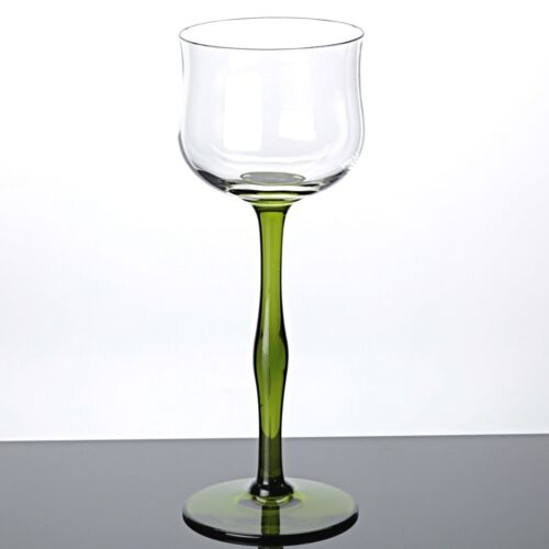 1 Jugendstil Weinglas um 1900 Stängel grün Stengelglas Rieslingglas Vintage 20cm