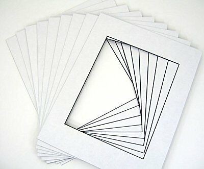 Set of 25 11x14 White Picture Mats with Black Core Bevel Cut for 8x10 Photos